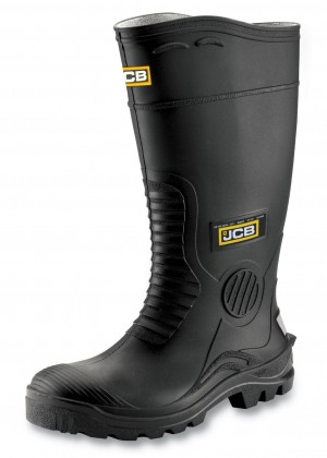 JCB HYDROMASTER Safety Wellington Work Boots Black (Sizes 7-12) Wellies
