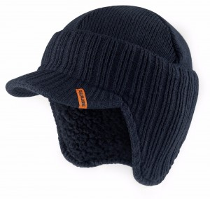 Scruffs Peaked Beanie Hat Navy Blue Warm Winter Insulated Workwear