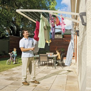 Hills Supa Fold Mono Wall Mounted Folding Clothes Washing Line (Blue or Beige)