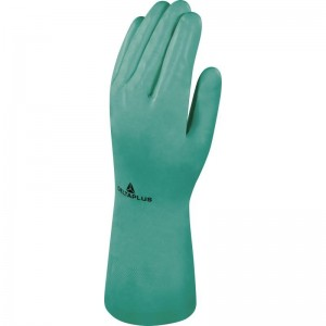 Delta Plus VE801 Safety Gloves Green Synthetic Cotton Flock Nitrile (Various Sizes)