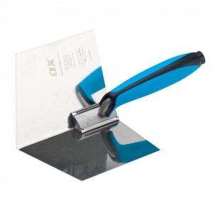 OX Pro Dry Wall Internal Corner Trowel with Duragrip Handle Stainless Steel - 102 x 127mm