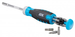 OX Pro Heavy Duty Multi-bit Ratchet Screwdriver with 10 x Interchangeable Bits