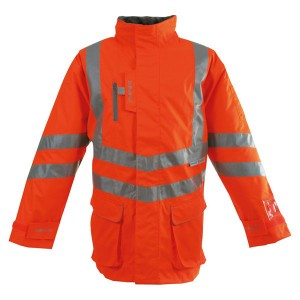 Pulsarail PR499 Hi-Vis Orange Waterproof Unpadded Storm Coat - Rail Certified (Sizes S-XXXL)