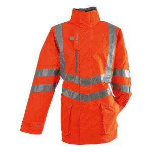 Pulsarail PR502 Hi-Vis Orange Waterproof Padded Storm Coat - Rail Certified (Sizes S-XXXL)