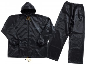 JCB Essential Fully Waterproof Rainsuit Jacket & Trousers Pack Black (Sizes L-XL)