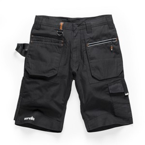 Scruffs Ripstop Trade Cargo Work Shorts with Multiple Pockets Black (28in - 40in Waists)