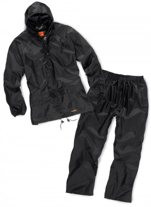Scruffs Fully Waterproof Rainsuit Jacket & Over Trousers BLACK (Sizes L-XL)