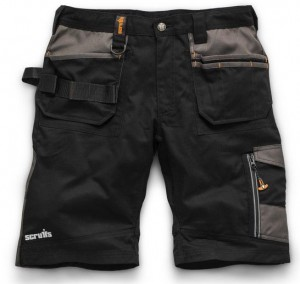 Scruffs Trade Work Shorts Black with Multiple Pockets (Sizes: 28in-40in Waist)