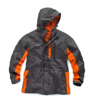 Scruffs Worker Jacket Graphite Grey & Orange Waterproof Coat (Sizes S-XXL)