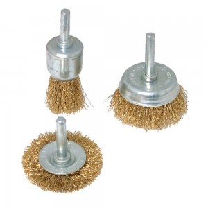 Silverline Brassed Steel Wire Wheel & Cup Brush Set 3 Piece