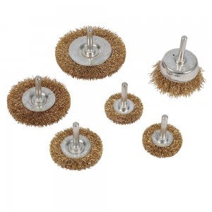 Silverline Brassed Steel Wire Wheel & Cup Brush Set 6 Piece