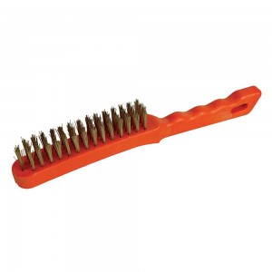 Silverline Brassed Wire Brush 4 Row Plastic Handle