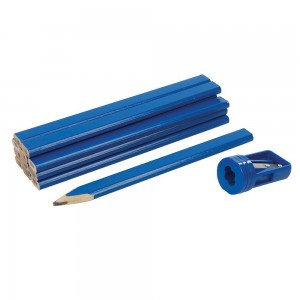 Silverline Carpenters Pencils & Sharpener Set 13 Piece