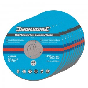 Silverline DIY Metal Grinding Discs Depressed Centre 115mm Pack of 10