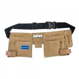 Silverline Double Pouch Leather Tool Belt 11 Pocket
