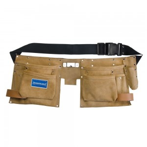 Silverline Double Pouch Leather Tool Belt 8 Pocket