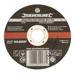 Silverline Heavy Duty Inox Thin Metal Cutting Flat Abrasive Disc Each (115-125mm)