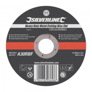 Silverline Heavy Duty Metal Cutting Flat Abrasive Disc Each (115-355mm)