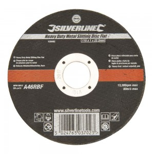 Silverline Heavy Duty Metal Cutting Thin Flat Abrasive Disc 115mm (Each)