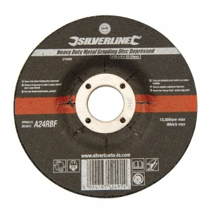 Silverline Heavy Duty Metal Grinding Disc Depressed Centre Each (115-230mm)