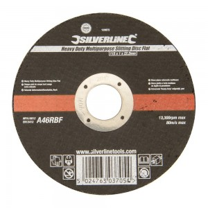 Silverline Heavy Duty Multipurpose Thin Slitting Flat Abrasive Disc Each 115mm