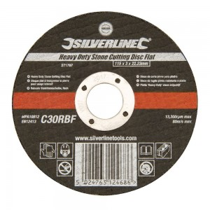 Silverline Heavy Duty Stone Cutting Flat Abrasive Disc Each (115-300mm)