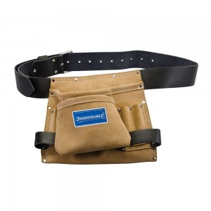 Silverline Nail & Tool Bag Leather Tool Belt 8 Pocket