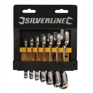 Silverline Stubby Ratchet Spanner Set 7 Piece (8-19mm)
