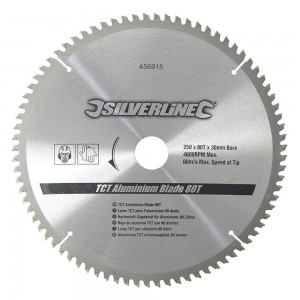 Silverline TCT Aluminium Saw Blade 250 x 30mm x 80 Teeth
