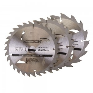 Silverline TCT Circular Saw Blade TRIPLE PACK 150 x 20mm (16, 24 & 30 Teeth)