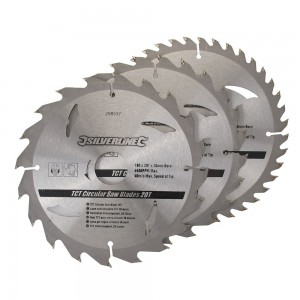 Silverline TCT Circular Saw Blade TRIPLE PACK 180 x 30mm (20, 24 & 40 Teeth)