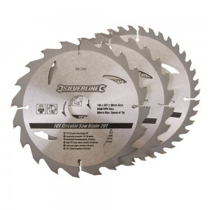 Silverline TCT Circular Saw Blade TRIPLE PACK 184 x 30mm (20, 24 & 40 Teeth)