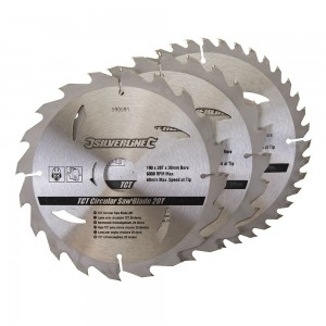 Silverline TCT Circular Saw Blade TRIPLE PACK 190 x 30mm (20, 24 & 40 Teeth)