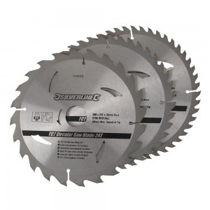 Silverline TCT Circular Saw Blade TRIPLE PACK 200 x 30mm (24, 40 & 48 Teeth)