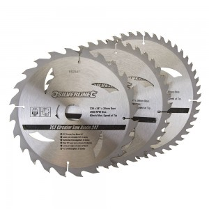 Silverline TCT Circular Saw Blade TRIPLE PACK 230 x 30mm (24, 40 & 48 Teeth)