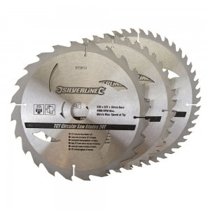 Silverline TCT Circular Saw Blade TRIPLE PACK 235 x 30mm (24, 40 & 48 Teeth)