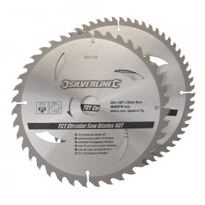 Silverline TCT Circular Saw Blade TWIN PACK 250 x 30mm (40 & 60 Teeth)