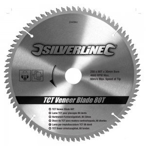 Silverline TCT Veneer Saw Blade 250 x 30mm x 80 Teeth