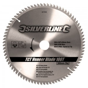 Silverline TCT Veneer Saw Blade 300 x 30mm x 100 Teeth