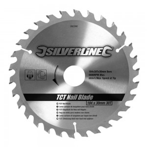 Silverline TCT 'Wood with Nails' Saw Blade 184 x 30mm x 30 Teeth