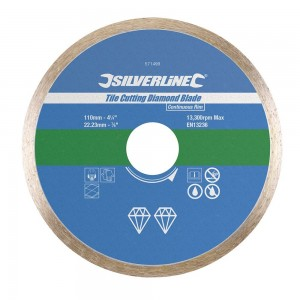 Silverline Tile Cutting Continuous Rim Diamond Blade (110-200mm)
