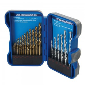 Silverline Titanium-Coated HSS & Masonry Drill Bit Set 19 Piece