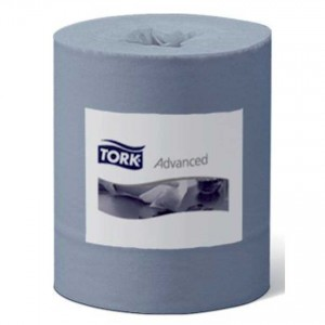 Tork 420 2-Ply Blue Paper Hand Towel Advanced Wiper Centrefeed Roll (457 Sheets, Case of 6 )