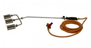 Triple Headed Gas Burning Torch 600mm with Regulator