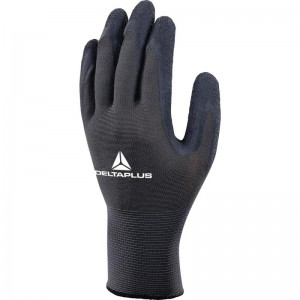 Delta Plus VE630 Safety Gloves Black / Grey Grip Latex Coated (Various Sizes)