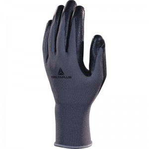 Delta Plus VE722 Safety Gloves Black / Grey Polyester with Nitrile Foam Palm (Various Sizes)