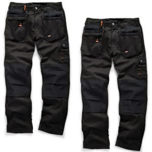 Scruffs WORKER PLUS TWIN PACK Black Work Trousers with Holster Pockets Trade Hardwearing