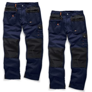 Scruffs WORKER PLUS TWIN PACK Navy Work Trousers with Holster Pockets Trade Hardwearing