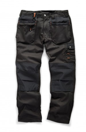 Scruffs WORKER PLUS Black Work Trousers with Holster Pockets (All Sizes) Trade Hardwearing
